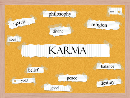 pegboard: Karma Corkboard Word Concept with great terms such as religion, zen, balance and more.