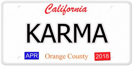 Imitatie Californië nummerplaat met het woord karma op geschreven, samen met Orange County en het jaar stickers maken van een geweldig concept.