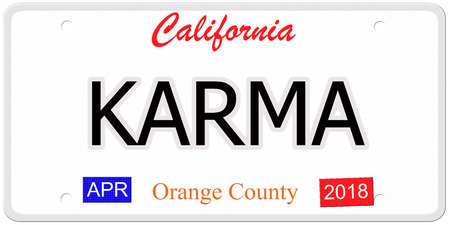 orange county: Imitation California license plate with the word Karma written on it along with Orange County and year stickers making a great concept.