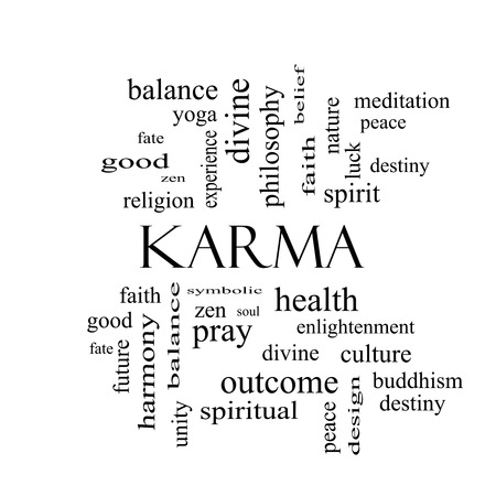 karma: Karma Word Cloud Concept in black and white with great terms such as balance, yoga, spirit, peace and more.