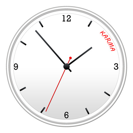 Time for Karma on a white wall clock with the hands pointed to the word. Stock Photo