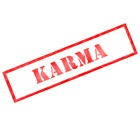 karma: Red Karma weathered rectangle shaped stamp making a great concept Stock Photo