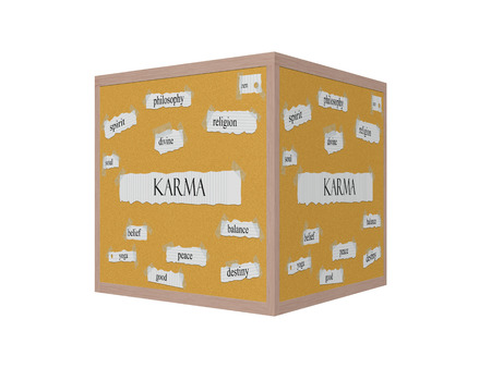Karma 3D Corkboard Word Concept with great terms such as religion, zen, balance and more.