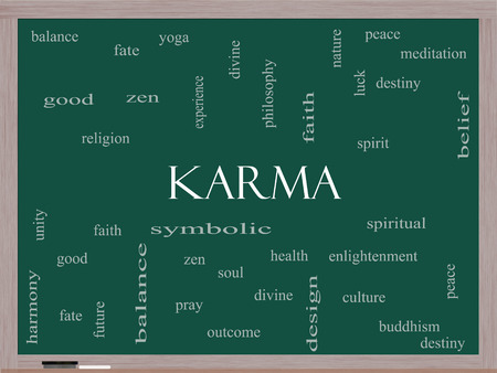 symbolics: Karma Word Cloud Concept on a Blackboard with great terms such as balance, yoga, spirit, peace and more.