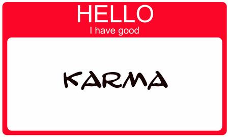 Hallo ik heb Good Karma rode naamplaatje sticker maken van een geweldig concept