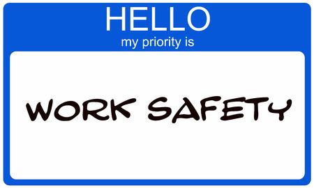 Hallo mijn prioriteit is de blauwe en witte naamkaartjessticker van Work Safety die een geweldig concept maakt.