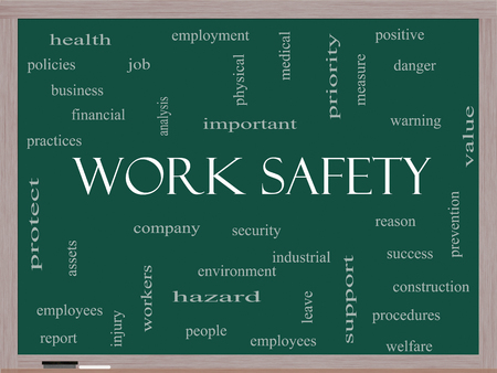 safety at work: Work Safety Word Cloud Concept on a Blackboard with great terms such as security, employee, company and more. Stock Photo