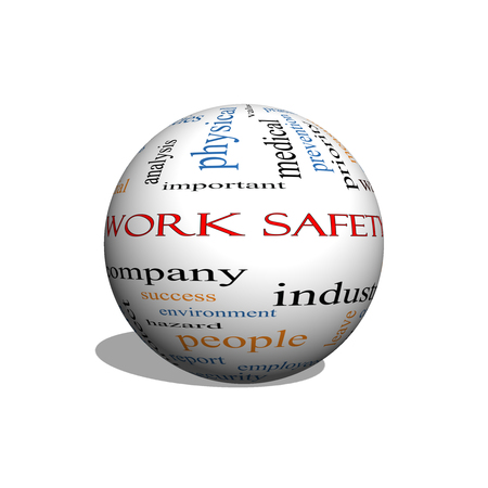safety at work: Work Safety 3D sphere Word Cloud Concept with great terms such as security, employee, company and more.