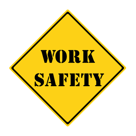 diamond shaped: A yellow and black diamond shaped road sign with the words WORK SAFETY making a great concept.