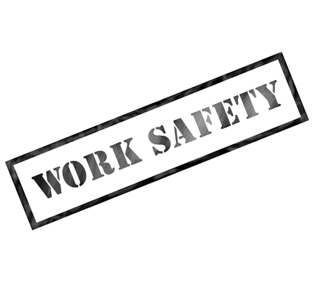 safety at work: Black Work Safety weathered rectangle shaped stamp making a great concept