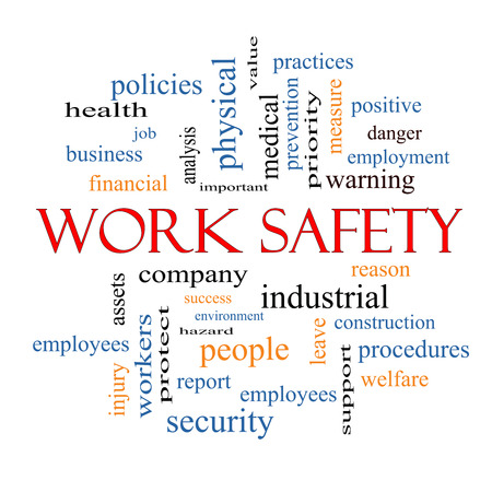safety at work: Work Safety Word Cloud Concept with great terms such as security, employee, company and more. Stock Photo