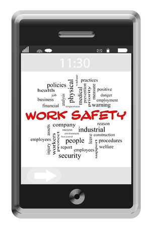 company job: Work Safety Word Cloud Concept on a Touchscreen Phone with great terms such as employee, hazard, practice and more. Stock Photo