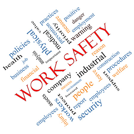 safety at work: Work Safety Word Cloud Concept angled with great terms such as security, employee, company and more.