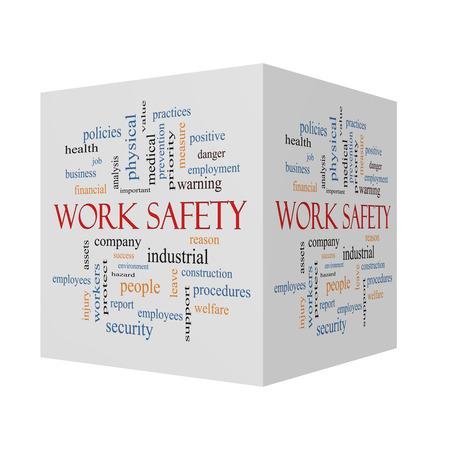 작업 안전 보안, 직원, 회사 등의 훌륭한 용어로 구성된 3D 큐브 Word 클라우드 개념.
