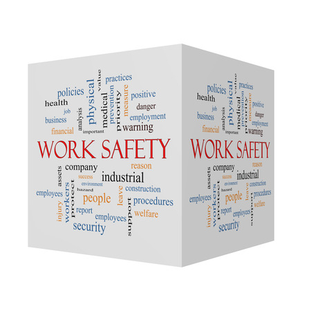 Work Safety 3D cube Word Cloud Concept with great terms such as security, employee, company and more.
