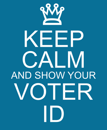 Keep Calm and show your Voter ID blue sign making a great concept