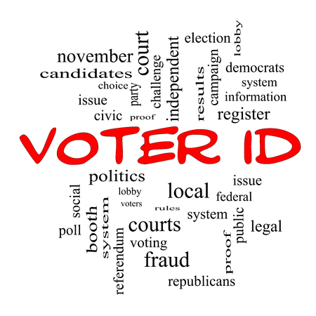 voter: Voter ID Word Cloud Concept in red caps with great terms such as court, issue, politics and more. Stock Photo