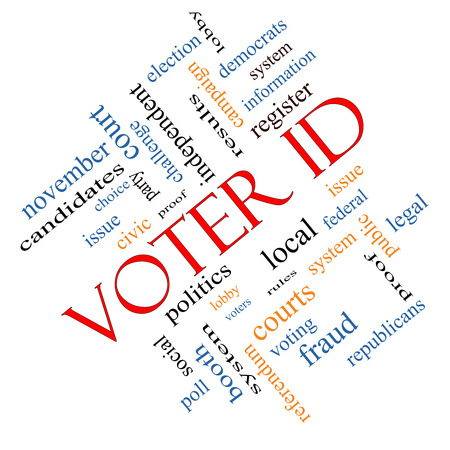 voter: Voter ID Word Cloud Concept angled with great terms such as court, issue, politics and more.