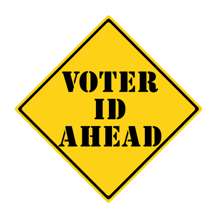diamond shaped: A yellow and black diamond shaped road sign with the words VOTER ID AHEAD making a great concept.