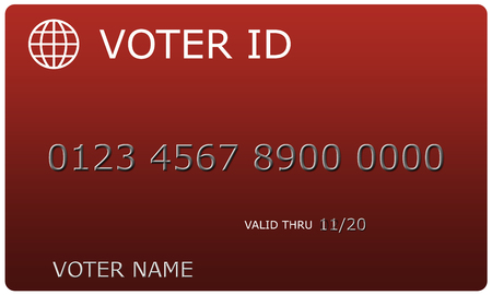 Voter ID sample card complete with number and name making a great concept. Banco de Imagens