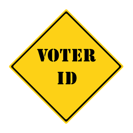 voter: A yellow and black diamond shaped road sign with the words VOTER ID making a great concept. Stock Photo