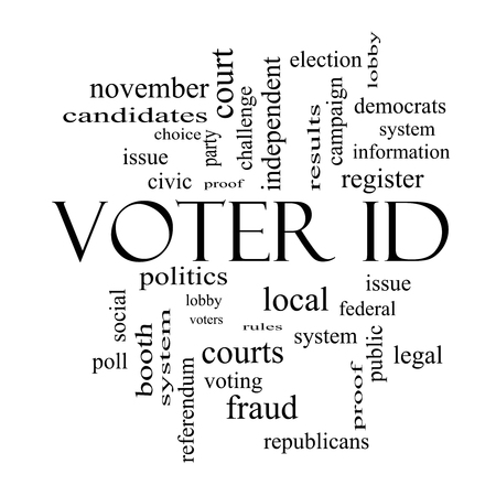 voter: Voter ID Word Cloud Concept in black and white with great terms such as court, issue, politics and more.