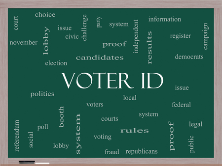 voter: Voter ID Word Cloud Concept on a Blackboard with great terms such as court, issue, politics and more.