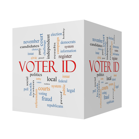 voter: Voter ID 3D cube Word Cloud Concept with great terms such as court, issue, politics and more.