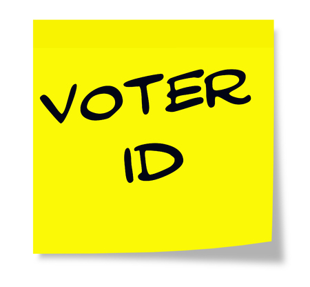 voter: Voter ID written on a yellow sticky note making a great concept.
