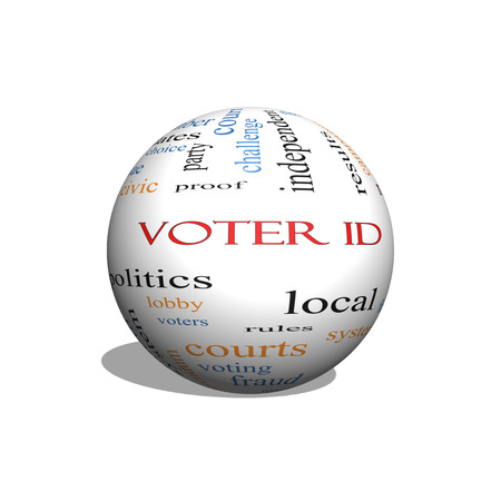 civic: Voter ID 3D sphere Word Cloud Concept with great terms such as court, issue, politics and more.