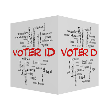 voter: Voter ID Word 3D Cloud Concept in red caps with great terms such as court, issue, politics and more.