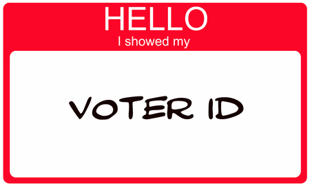 showed: Hello I showed my Voter ID red name tag making a great concept