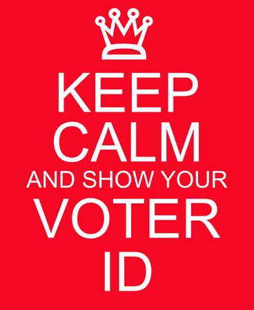 voter: Keep Calm and show your Voter ID red sign making a great concept Stock Photo
