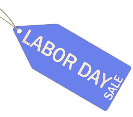 Blue Labour Day Sale-tag die een geweldig concept maakt Stockfoto