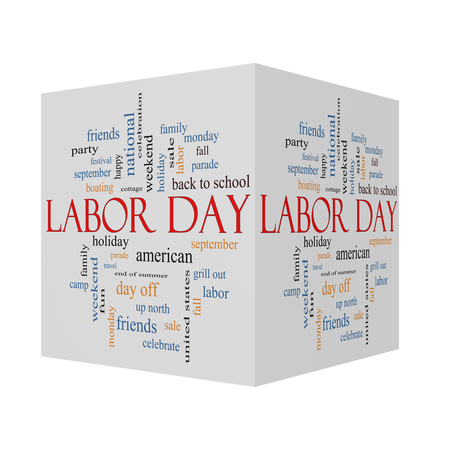 Labor Day 3D Cube Word Cloud Concept with great terms such as holiday, September, Monday and more.