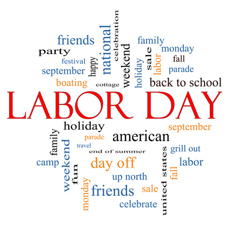 labour: Labor Day Word Cloud Concept with great terms such as holiday, September, Monday and more. Stock Photo