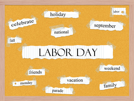 pegboard: Labor Day Corkboard Word Concept with great terms such as September, weekend, holiday and more.