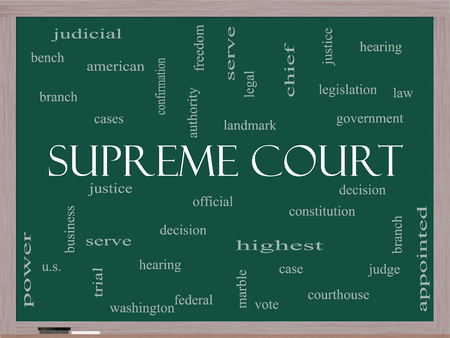 justices: Supreme Court Word Cloud Concept on a Blackboard with great terms such as justices, federal, caes and more. Stock Photo