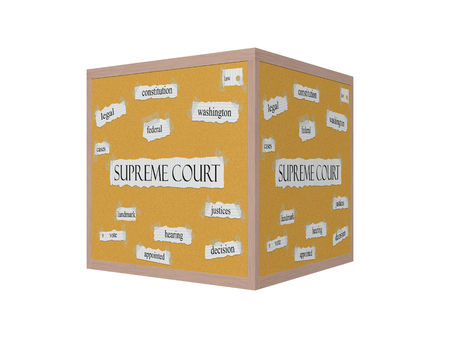 justices: Supreme Court 3D Corkboard Word Concept with great terms such as justices, decision, landmark and more. Stock Photo