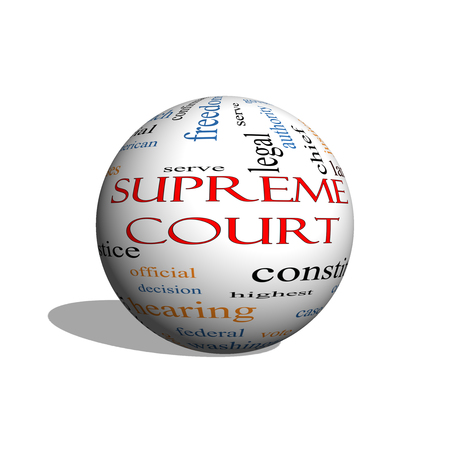 justices: Supreme Court 3d sphere Word Cloud Concept with great terms such as justices, federal, caes and more.