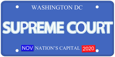 Imitation Washington DC license plate with Supreme Court written on it and Nations Capital 版權商用圖片