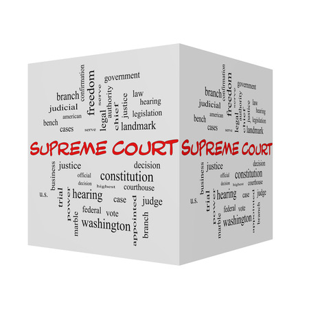 justices: Supreme Court 3D Word Cloud Concept in red caps with great terms such as justices, federal, caes and more. Stock Photo