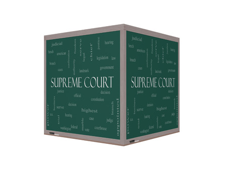 justices: Supreme Court Word Cloud Concept on a 3D Blackboard with great terms such as justices, federal, caes and more. Stock Photo