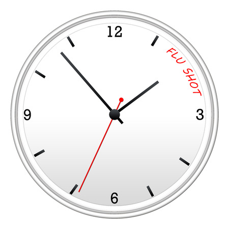 flu shot: Time for the Flu Shot written on a white wall clock