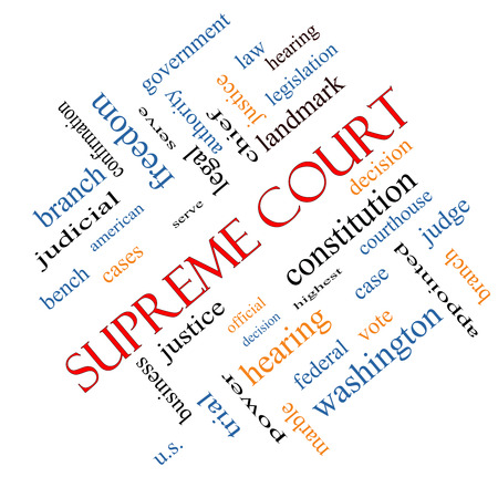 justices: Supreme Court Word Cloud Concept angled with great terms such as justices, federal, caes and more. Stock Photo