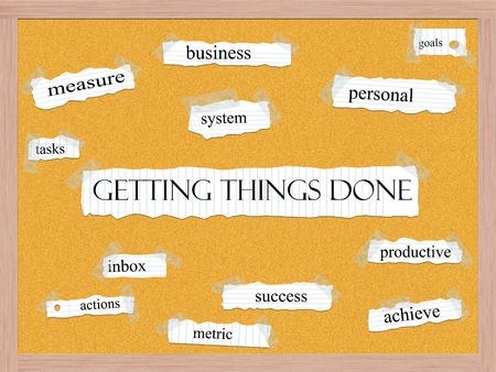 Getting Things Done Corkboard Word Concept with great terms such as  and more.