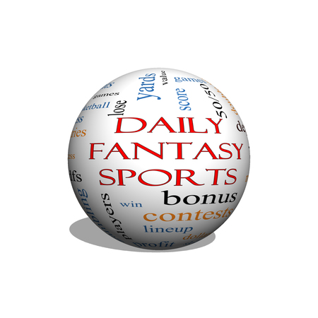 win money: Daily Fantasy Sports 3D sphere Word Cloud Concept with great terms such as games, lineups, win, money and more. Stock Photo