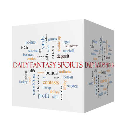 win money: Daily Fantasy Sports 3D cube Word Cloud Concept with great terms such as games, lineups, win, money and more.