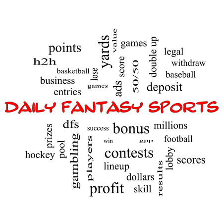 win money: Daily Fantasy Sports Word Cloud Concept in red caps with great terms such as games, lineups, win, money and more.