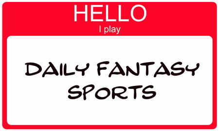 Hello I play Daily Fantasy Sports red Name Tag sticker concept